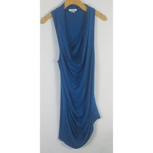 Helmut Lang Blue Cowl Sleeveless Top